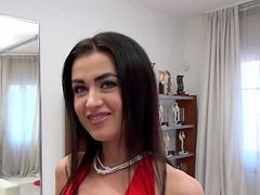 Brunette doll in a red dress and black stockings Nikky Perry fucking