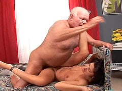 Horny slut Tera Joy fucks a grandpa and lets him eat the creampie