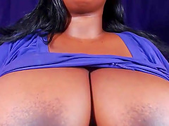 Hot ebony milf shows big tits and hard nipples