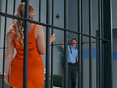 Horny inmate AJ Applegate fucks a prison guard in a cell