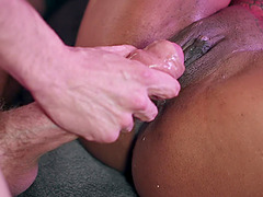Ebony round ass babe Kiki Minaj sucks a big dick and gets doggy fucked