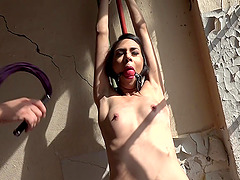 Slender brunette Ashley Ocean ball gagged, tied up and abused