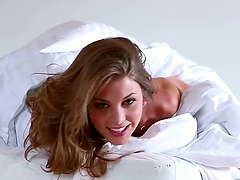 Sexy Blonde Amber Sym in Hot Lingerie Masturbating