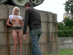 Outdoor bondage game and sex is amazing experience for Sophie Logan