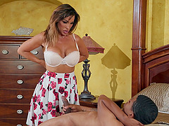 strong and horny dude feeds Aubrey Black with his strong boner