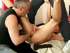 Guy Teaches Brunette Chick How To Use Her Fist to Fuck a Girl