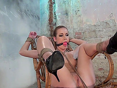 Tied blonde Anouk is ready for the BDSM experience with a dude