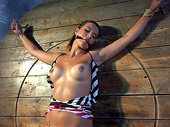 Horny and tied Katie Oliver gets her shaved pussy pleased by her lover