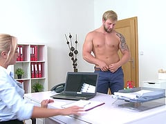 Vina gets her pussy pounded by a horny stranger in her office