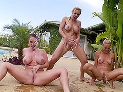Three hot lesbian girls have grea threesome by the pool