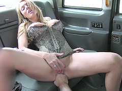 Fake taxi driver uses his long shaft to penetrate Stacey Saran