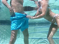 Nice fucking in the pool with hot ass girlfriend Alexis Monroe