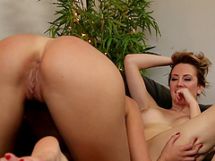 Lesbian love making in the living-room with Brett Rossi and Subil Arch
