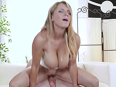 Busty blonde wife Katarina Dubrova rides his dick like a pro