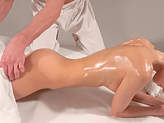 Smooth fucking on the masage table with small tits Gina Gerson