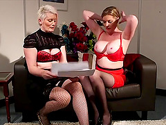 Video of two CFNM models Holly Kiss and Sally Cream teasing