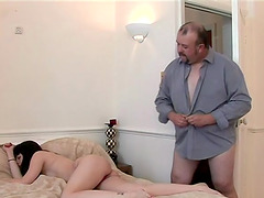 Skinny chick gets her ass touched by an older guy while jerking off