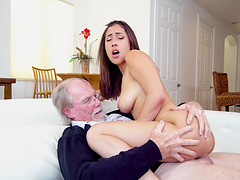 Handsome brunette Kira Perez teases and gets fucked by an older man