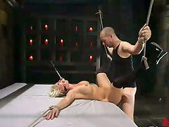 Toying and Fucking Hot Blonde Devon Lee in Bondage Fuck Session