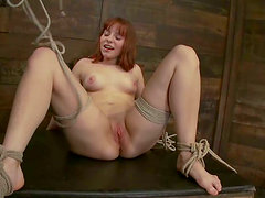 hogtied redhead hooked and toyed