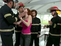Redhead Slut Audrey Hollander Gangbanged by Five Firefighters