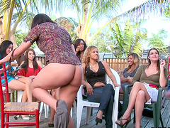 CFNM Outdoors Party with Girls Seeing Their Friends Sucking Cock