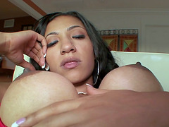 Amazing Latina babe is sucking that huge cock for cum